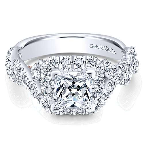 Gabriel - 14k White And Rose Gold Princess Cut Halo Engagement Ring