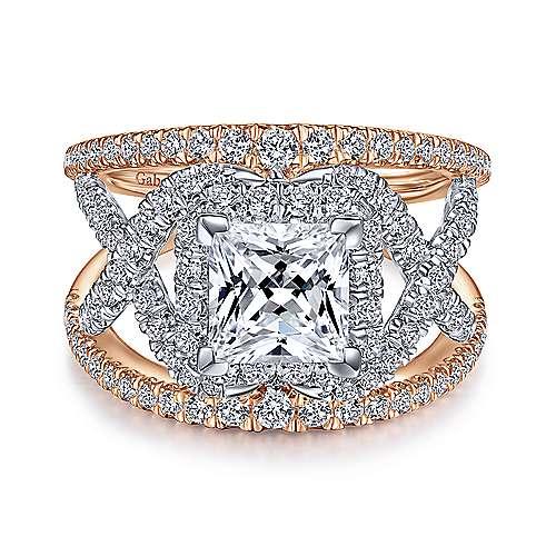 Gabriel - 14k White And Rose Gold Princess Cut Split Shank Engagement Ring