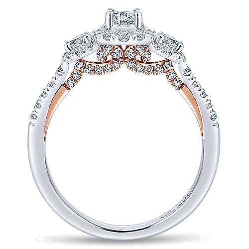 14k White And Rose Gold Round 3 Stones Halo Engagement Ring angle 2