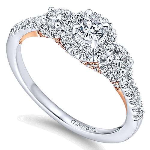 14k White And Rose Gold Round 3 Stones Halo Engagement Ring angle 3