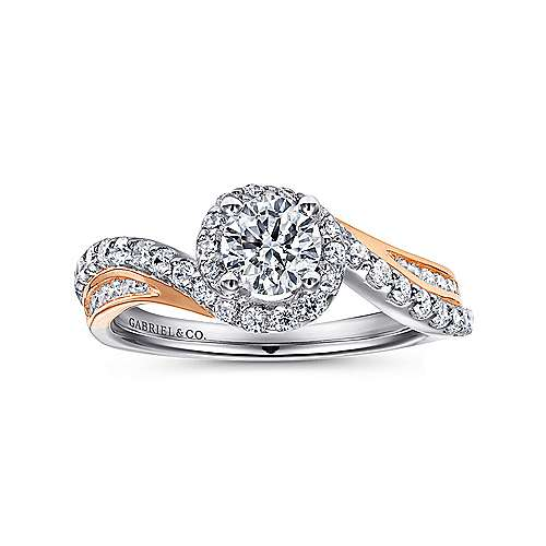 14k White And Rose Gold Round Bypass Engagement Ring angle 5