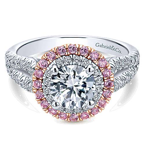for double halo pear click diamond ring pink rings enlarge engagement to