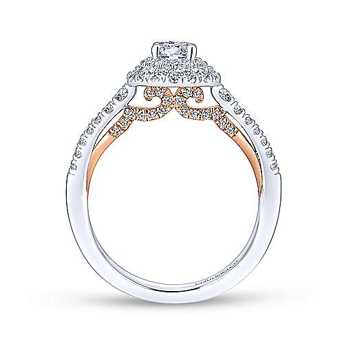 14k White And Rose Gold Round Double Halo Engagement Ring