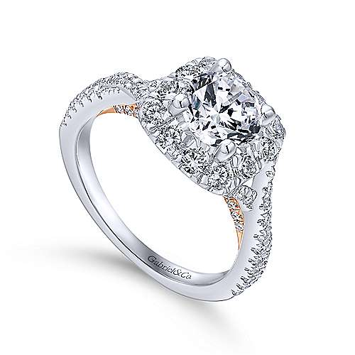 14k White And Rose Gold Round Halo Engagement Ring