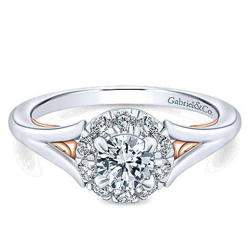 Gabriel - 14k White And Rose Gold Round Halo Engagement Ring