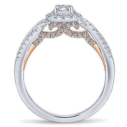 14k White And Rose Gold Round Halo Engagement Ring angle 2