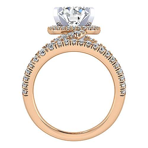 14k White And Rose Gold Round Split Shank Engagement Ring angle 2