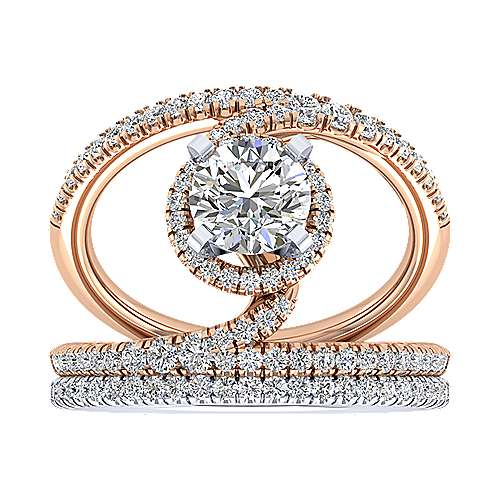 14k White And Rose Gold Round Split Shank Engagement Ring angle 4