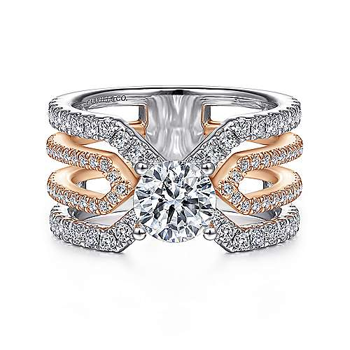 14k White And Rose Gold Round Split Shank Engagement Ring angle 1