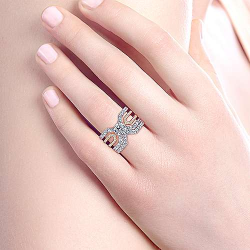 14k White And Rose Gold Round Split Shank Engagement Ring angle 6