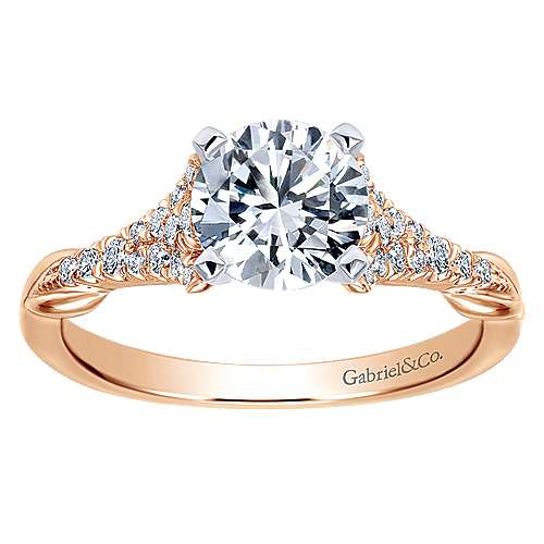 14k White And Rose Gold Round Straight Engagement Ring angle 5