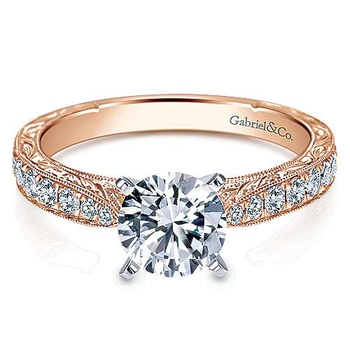 Gabriel - 14k White And Rose Gold Round Straight Engagement Ring