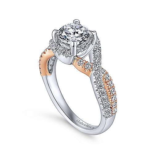 14k White And Rose Gold Round Twisted Engagement Ring angle 3