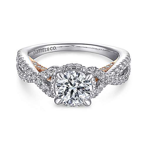 Gabriel - 14k White And Rose Gold Round Twisted Engagement Ring