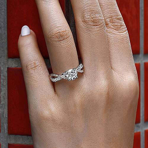 14k White And Rose Gold Round Twisted Engagement Ring angle 6