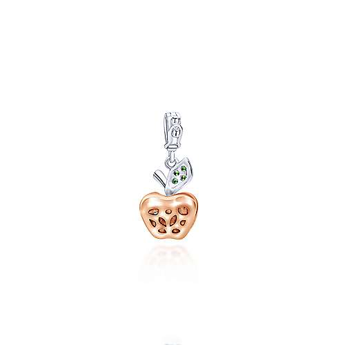 14k White And Rose Gold Treasure Chests Charm Pendant angle 2