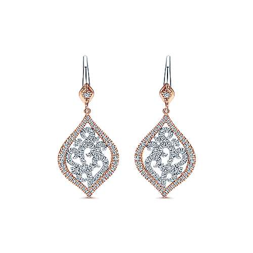 14k White And Rose Gold Victorian Drop Earrings angle 1