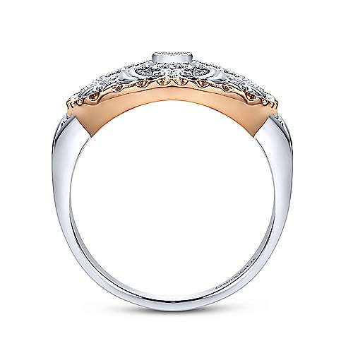 14k White And Rose Gold Victorian Fashion Ladies' Ring angle 2