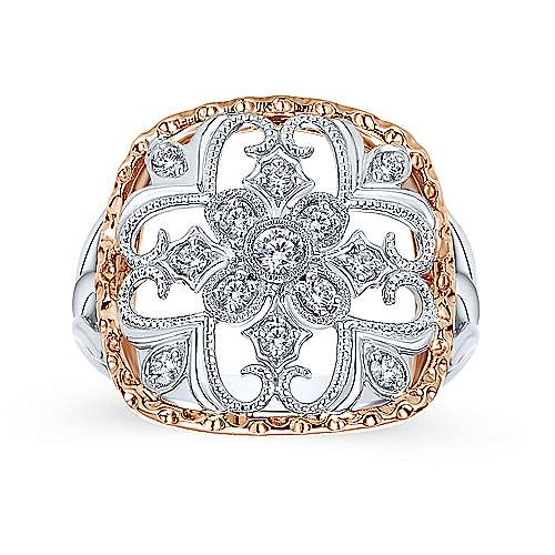 14k White And Rose Gold Victorian Fashion Ladies' Ring angle 4