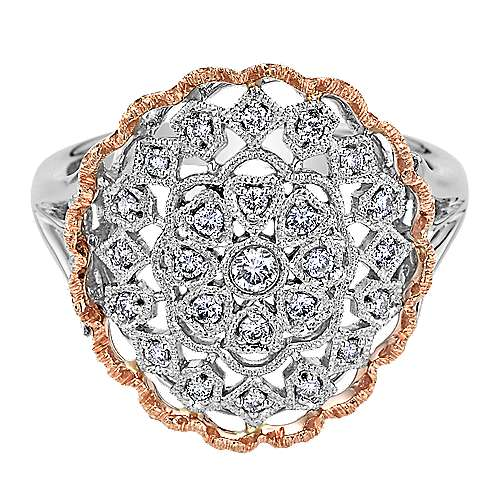 Gabriel - 14k White And Rose Gold Victorian Fashion Ladies' Ring