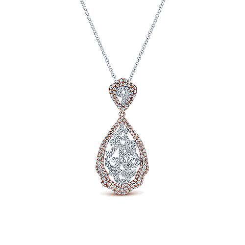 14k White And Rose Gold Victorian Fashion Necklace angle 1