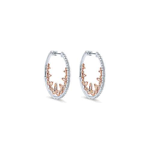 14k White And Rose Gold Victorian Intricate Hoop Earrings