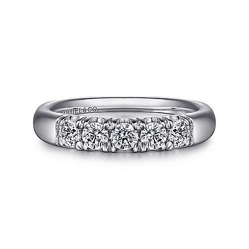 Gabriel - 14k White Gold  5 Stone French Pavé Set Band