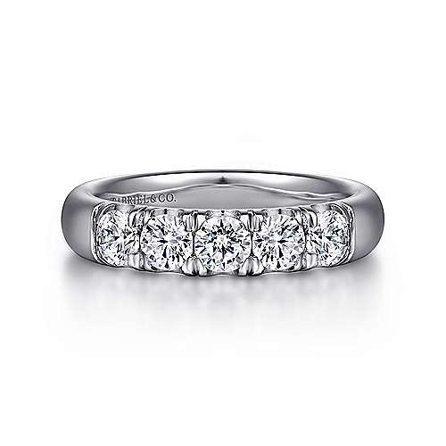 14k White Gold  5 Stone French Pavé Set Band