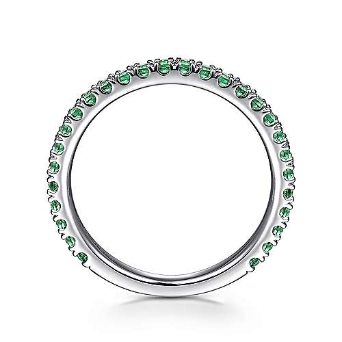 14k White Gold  And Emerald Stackable Ladies