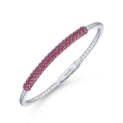 14k White Gold  And Ruby Bangle angle 2
