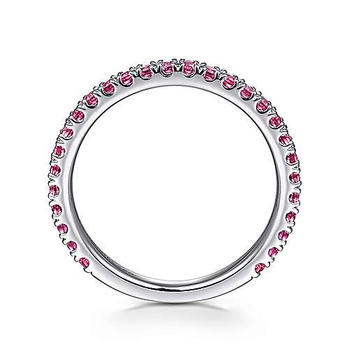 14k White Gold  And Ruby Stackable Ladies