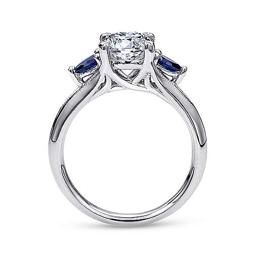 14k White Gold  And Sapphire 3 Stones Engagement Ring angle 2