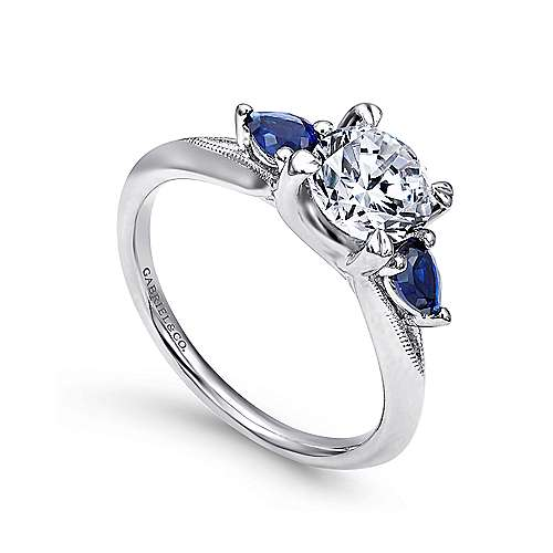 14k White Gold  And Sapphire 3 Stones Engagement Ring angle 3
