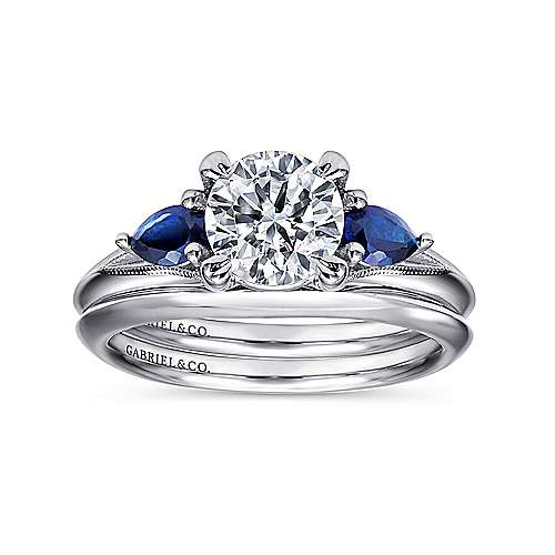 14k White Gold  And Sapphire 3 Stones Engagement Ring angle 4