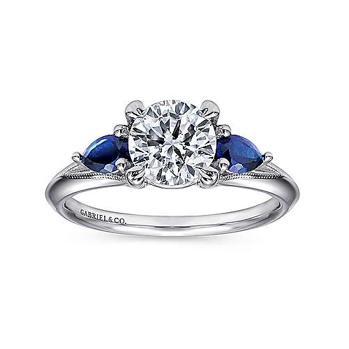 14k White Gold  And Sapphire 3 Stones Engagement Ring angle 5