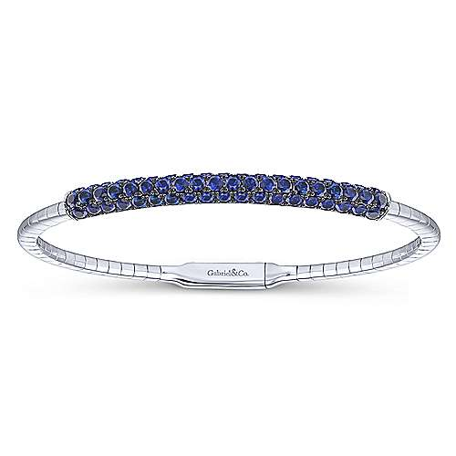 14k White Gold  And Sapphire Bangle angle 1