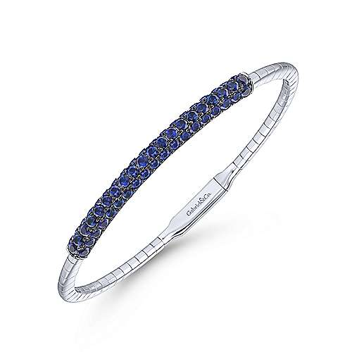 14k White Gold  And Sapphire Bangle angle 2