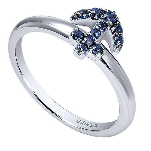 14k White Gold  And Sapphire Stackable Ladies