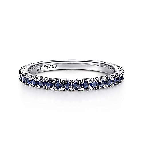 14k White Gold  And Sapphire Stackable