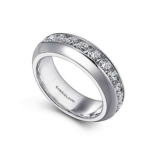 14k White Gold 11 Stone Channel Set Band
