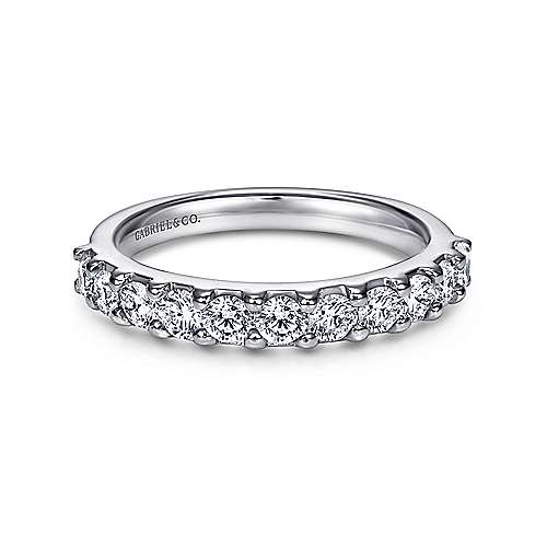 Gabriel - 14k White Gold 11 Stone Shared Prong Band