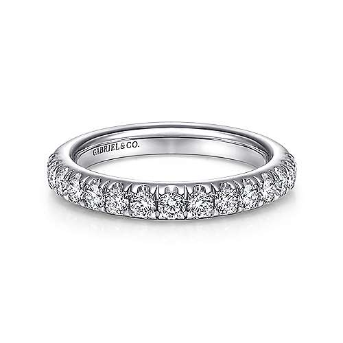 Gabriel - 14k White Gold 15 Stone French Pavé Set Band