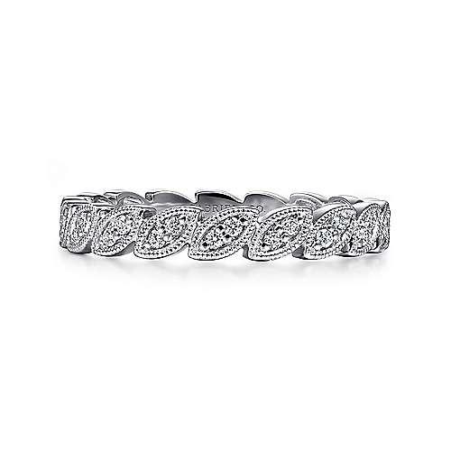 Gabriel - 14k White Gold .18 ct Diamond Stackable Ladies Ring