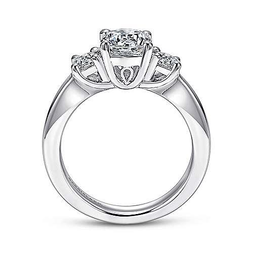 14k White Gold 3 Round Stone Diamond Engagement Ring on Rounded Shank angle 2