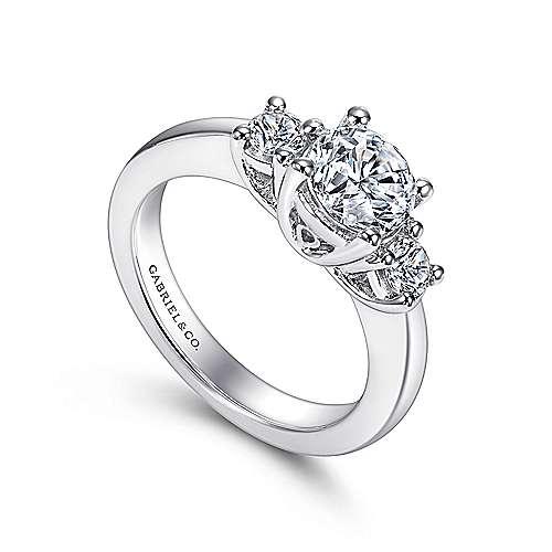 14k White Gold 3 Round Stone Diamond Engagement Ring on Rounded Shank angle 3