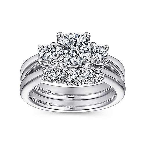 14k White Gold 3 Round Stone Diamond Engagement Ring on Rounded Shank angle 4