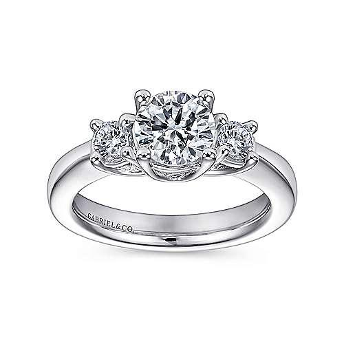 14k White Gold 3 Round Stone Diamond Engagement Ring on Rounded Shank angle 5