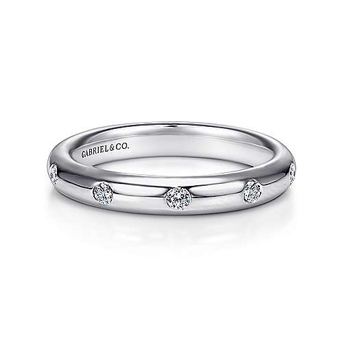 Gabriel - 14k White Gold 5 Stone Burnished Set Band