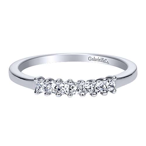Gabriel - 14k White Gold 7 Stone Princess Cut Shared Prong Band