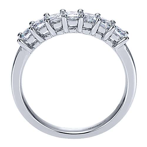 14k White Gold 7 Stone Princess Cut Shared Prong Band